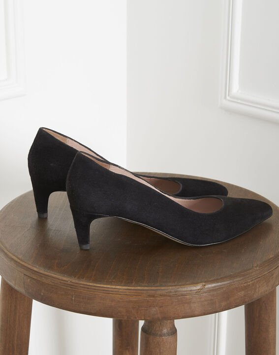 Lili black high heels in suede goatskin (3) - 1-2-3