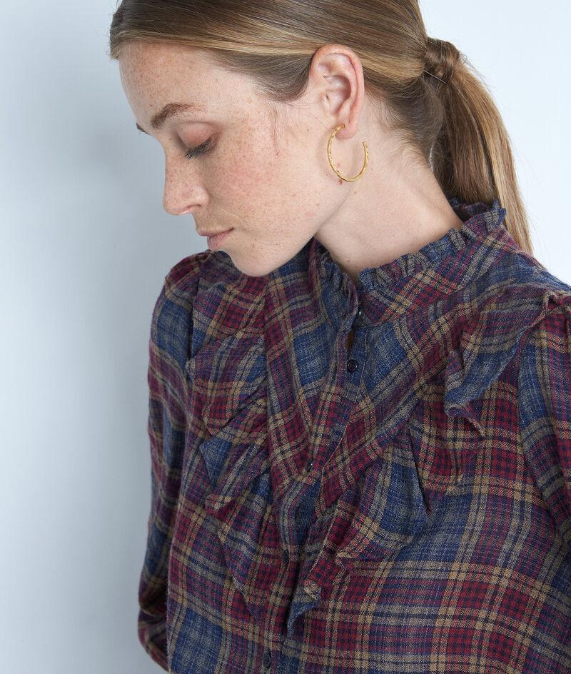 Chemise à carreaux bleu et bordeaux volantée Abelia PhotoZ | 1-2-3