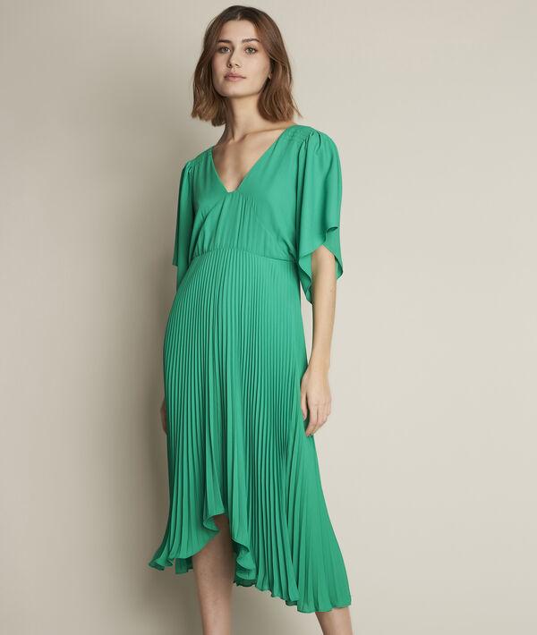 Robe plissée verte Hedwige PhotoZ | 1-2-3