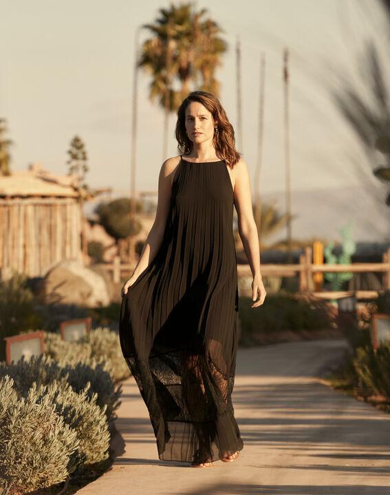 Robe noire plissée longue dentelle Hedda (1) - Maison 123