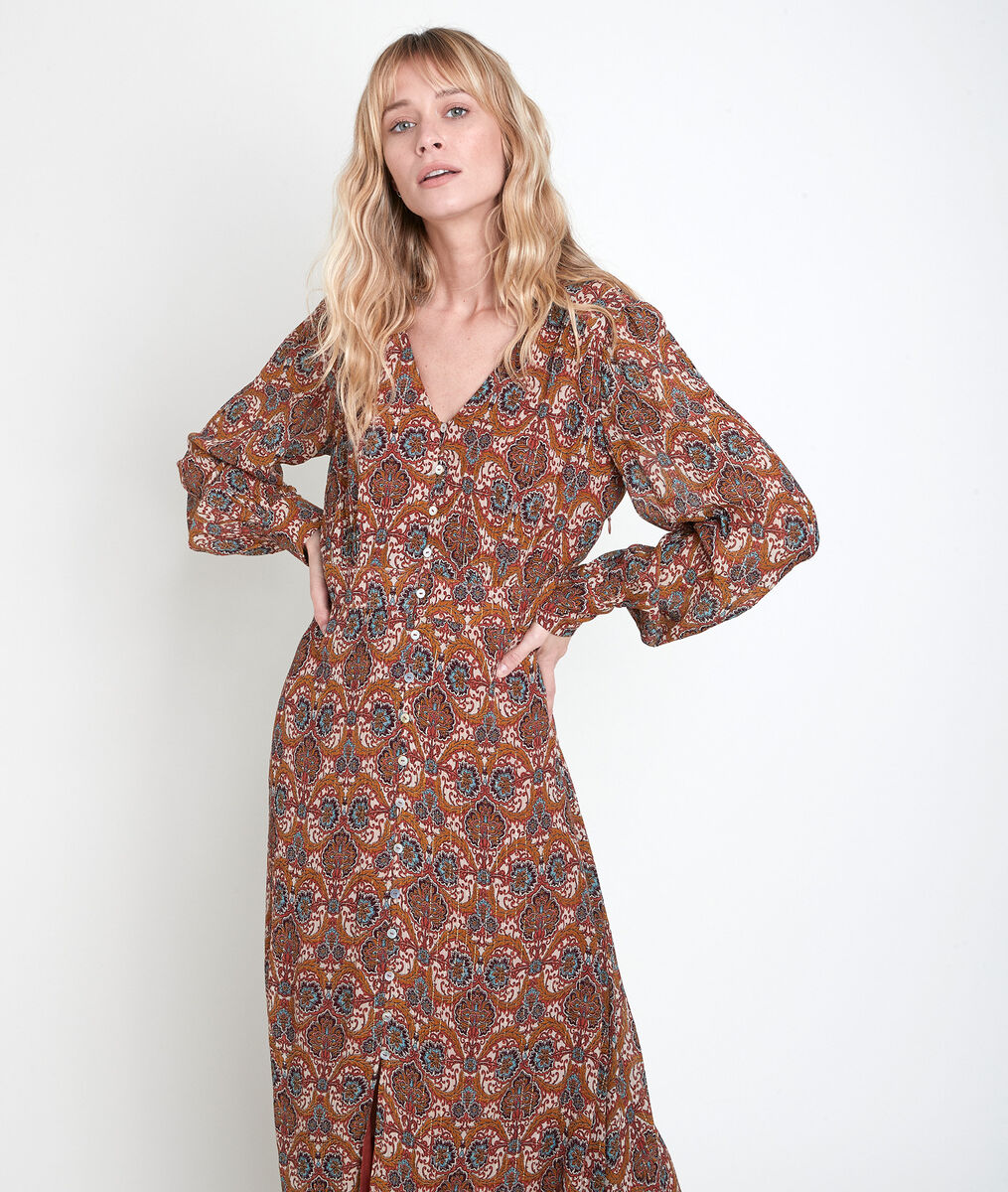 Robe longue imprimé camel Carmen PhotoZ | 1-2-3