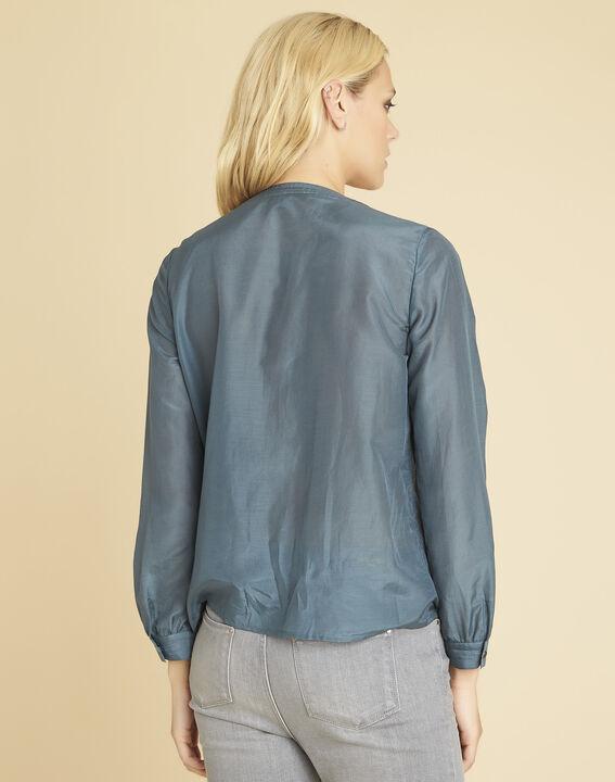 Blouse grise coton soie boutonnée devant Camille (4) - 1-2-3