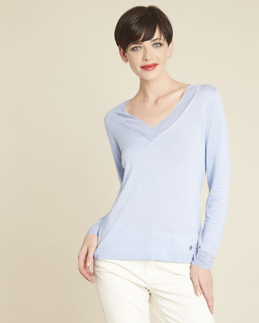 Bergamotte azure blue fine-knit sweater with V-neck (2) - 1-2-3