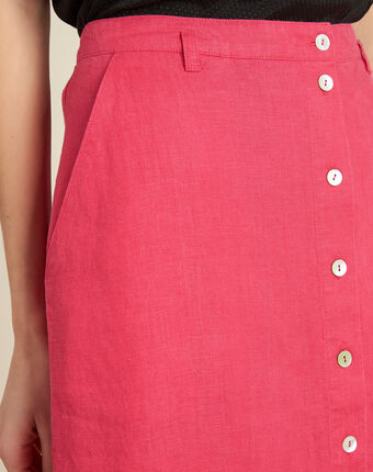Lunis long fuchsia skirt in linen with buttons light fuchsia.