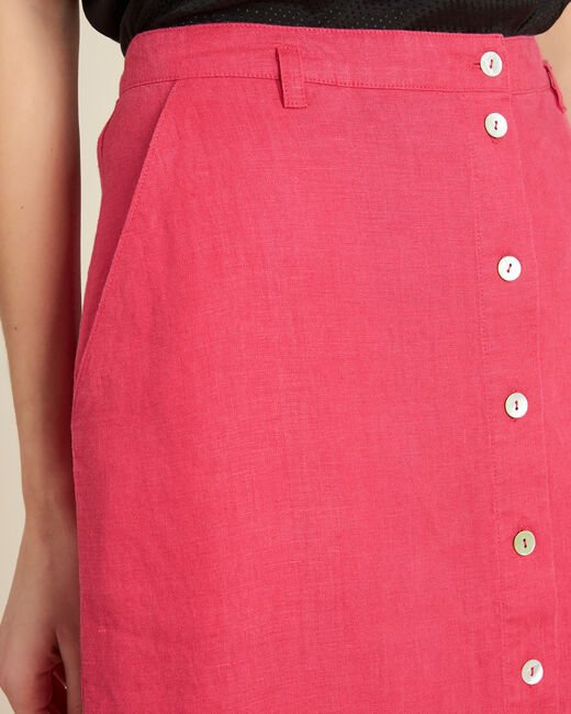 Lunis long fuchsia skirt in linen with buttons (1) - 1-2-3