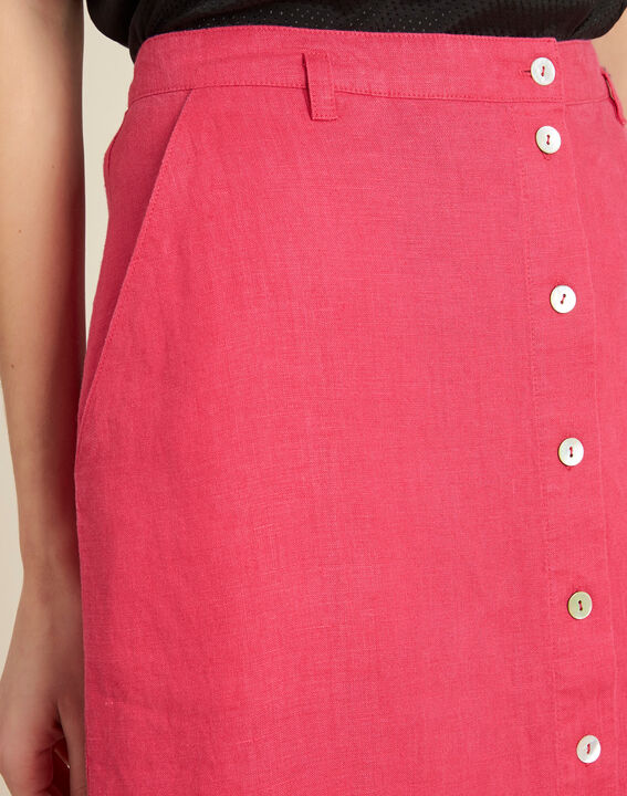 Lunis long fuchsia skirt in linen with buttons PhotoZ | 1-2-3