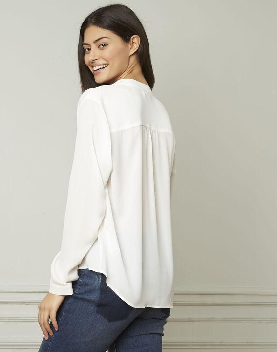 Witte blouse met lavallièrekraag Valence (3) - Maison 123