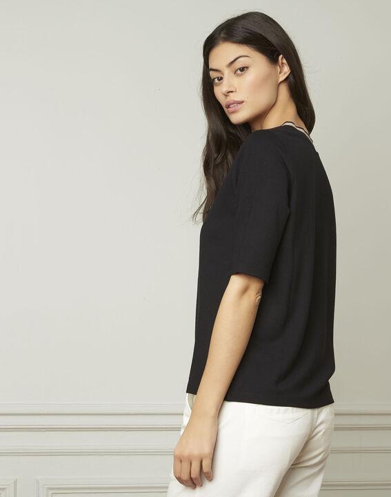 Tee-shirt noir encolure V en lurex Pluie (3) - Maison 123