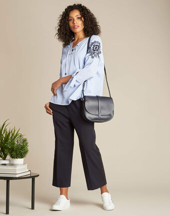 Gabel embroidered striped blouse navy.