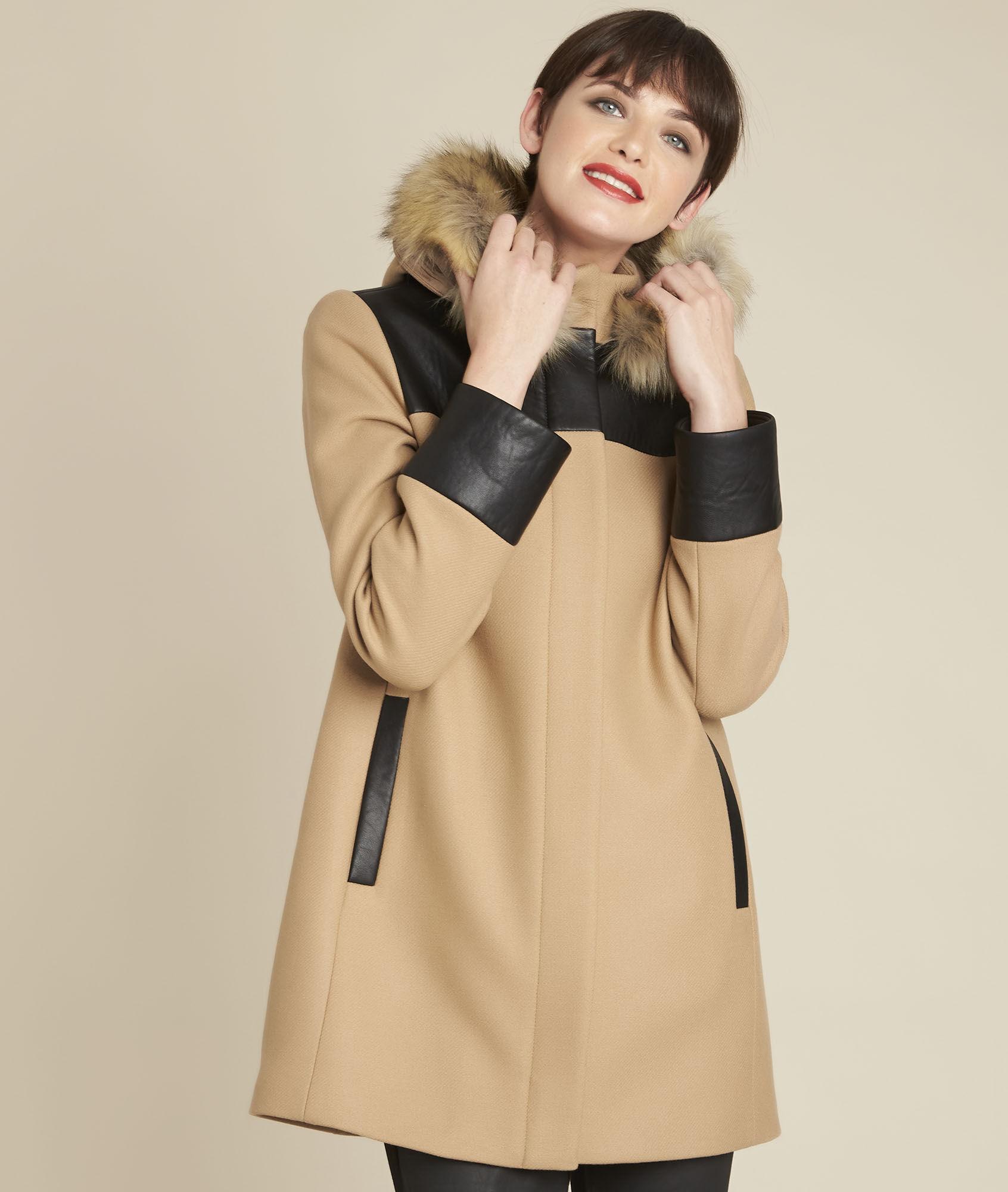 Mantel camel wol
