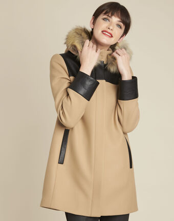 Princesse camel hooded wool mix coat camel.
