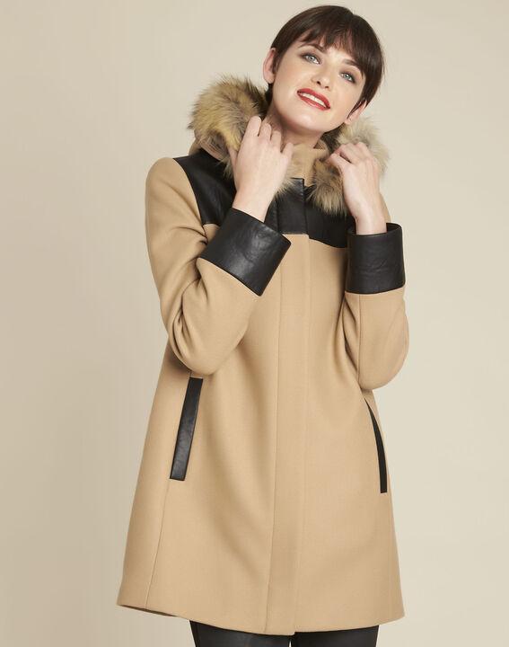Camelfarbener Mantel mit Kapuze aus Wollgemisch Princesse (1) - 1-2-3