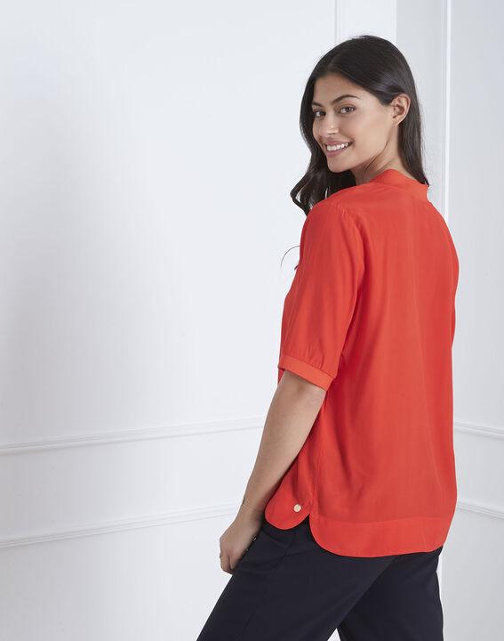 Rote, fließende Bluse mit V-Kragen Virginie (4) - Maison 123