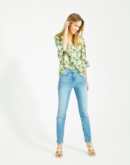 Dorine yellow floral printed blouse (3) - 1-2-3