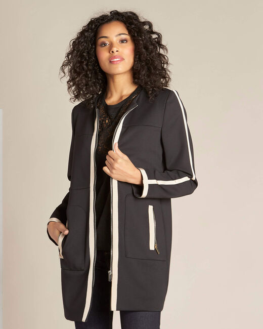 Kolin two-tone black and beige straight-cut coat (2) - 1-2-3