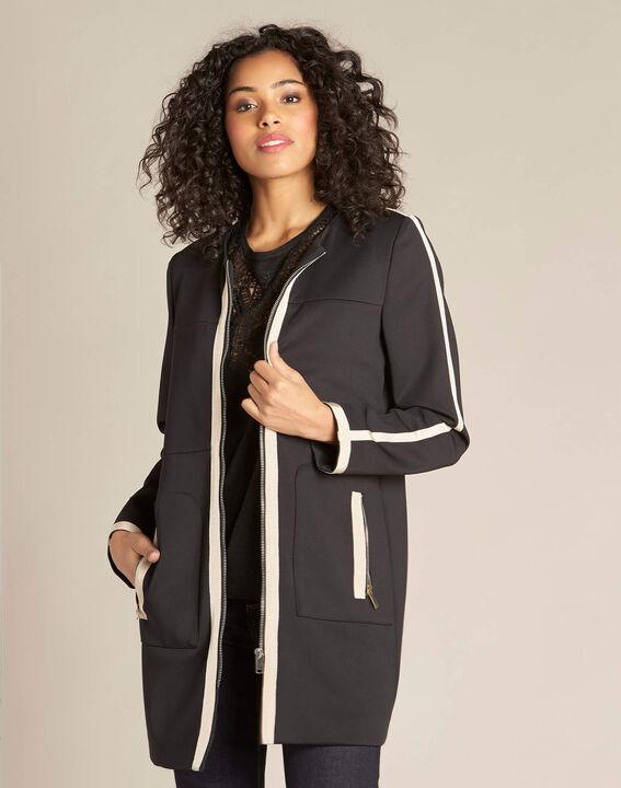 Schwarzer und beigefarbener Mantel mit geradem Schnitt Kolin (3) - 1-2-3