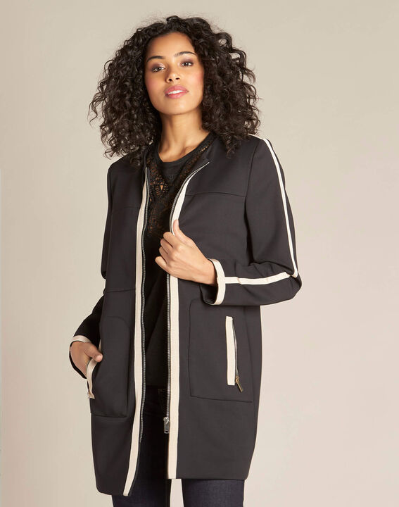 Kolin two-tone black and beige straight-cut coat (3) - 1-2-3
