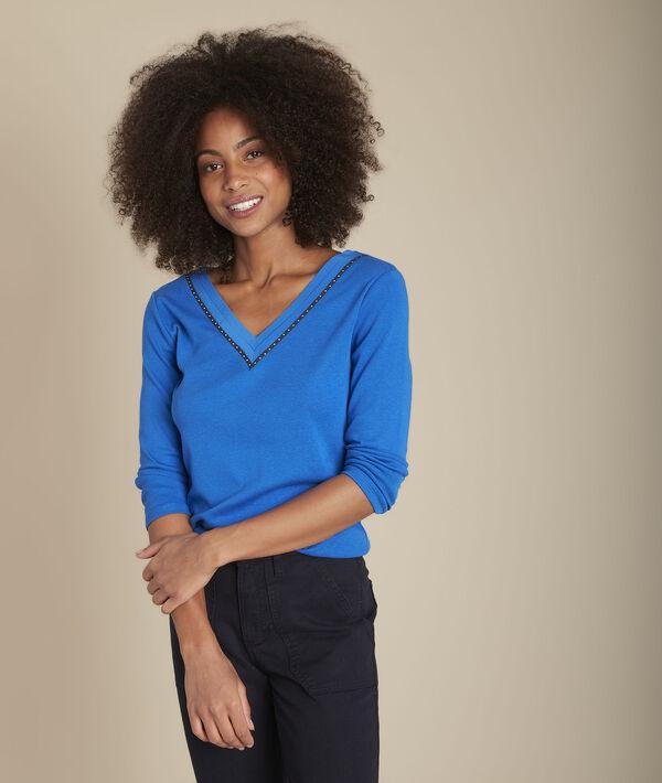 Tee-shirt cobalt col V Carla PhotoZ | 1-2-3