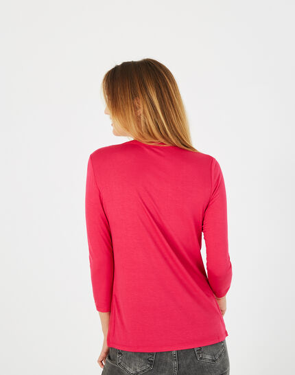Bianca fuchsia T-shirt with 3/4 length sleeves<br /> (4) - 1-2-3