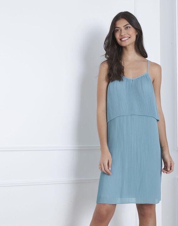 Robe bleue plissée Harlette PhotoZ | 1-2-3