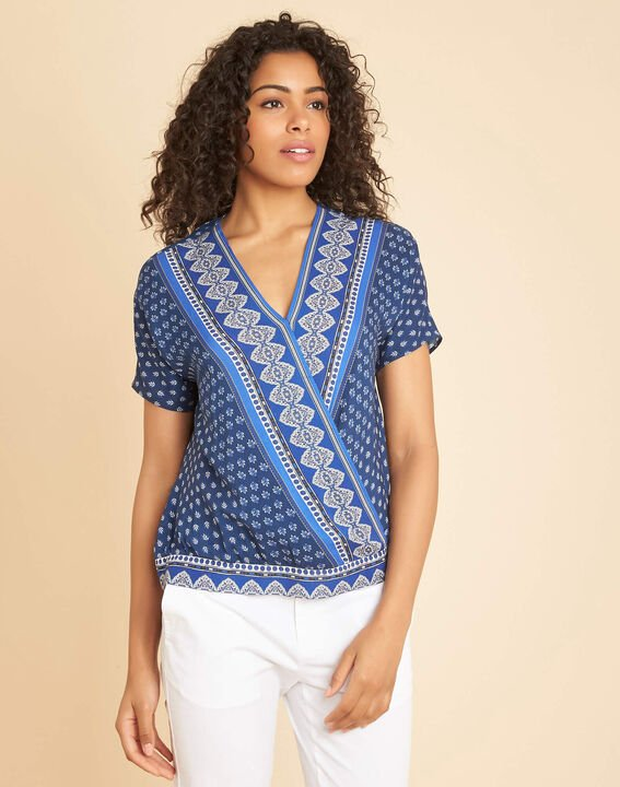 Galix blue printed top with crossover neckline (3) - 1-2-3