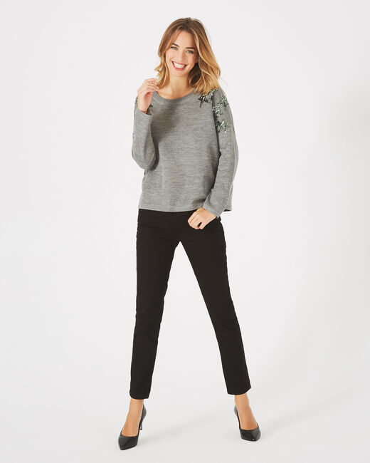 Paillette marl grey wool-blend sweater with sequins (1) - 1-2-3