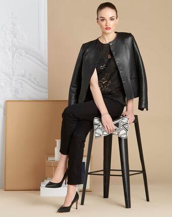 Genat embroidered black sleeveless top black.