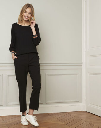 Amarante black sporty style pullover with lurex details black.