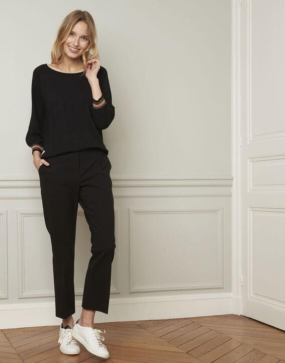 Zwarte trui in sportieve stijl met lurex details Amarante (2) - Maison 123