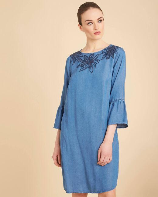 Besticktes indigoblaues Kleid mit Pagodenärmeln Portorico (2) - 1-2-3