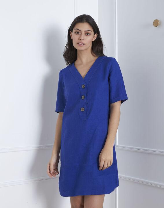 Robe bleue en lin Loanne (2) - Maison 123