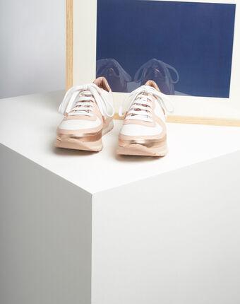 Roségoldene und weiße leder-sneakers king weiss.