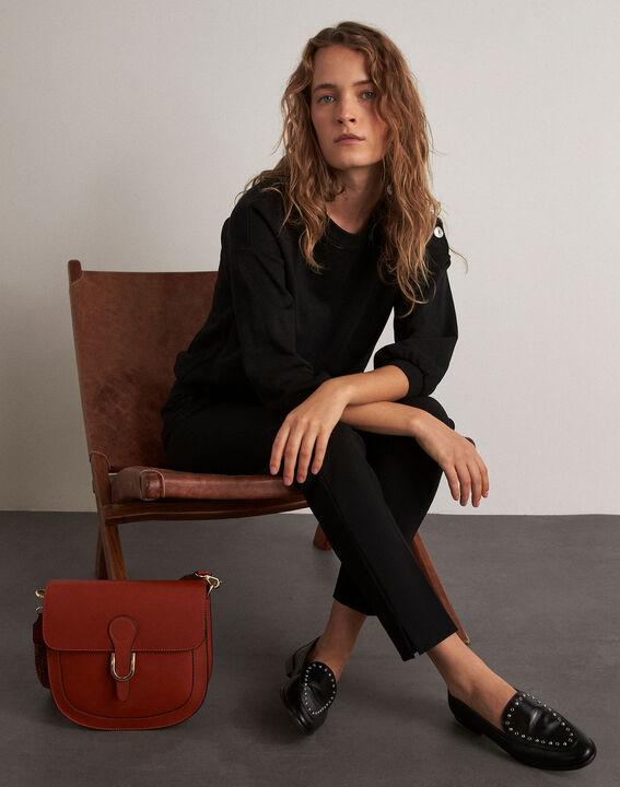 Lara black slim-cut microfibre trousers PhotoZ | 1-2-3