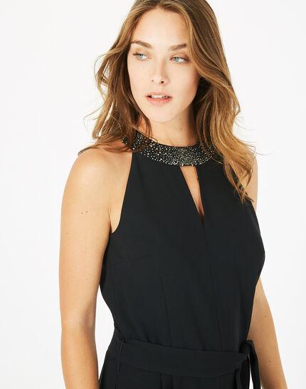 Carly black jumpsuit with Swarovski-embellished neckline (3) - 1-2-3