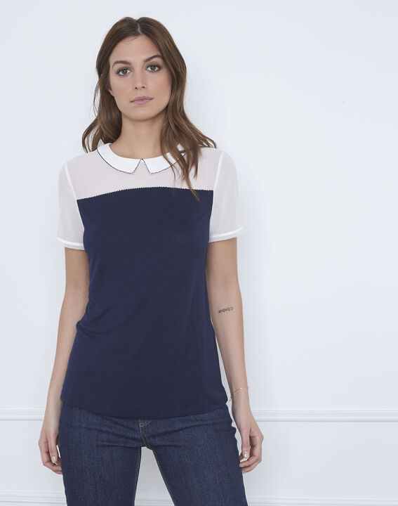 Tee-shirt marine col fantaisie Paris (1) - Maison 123