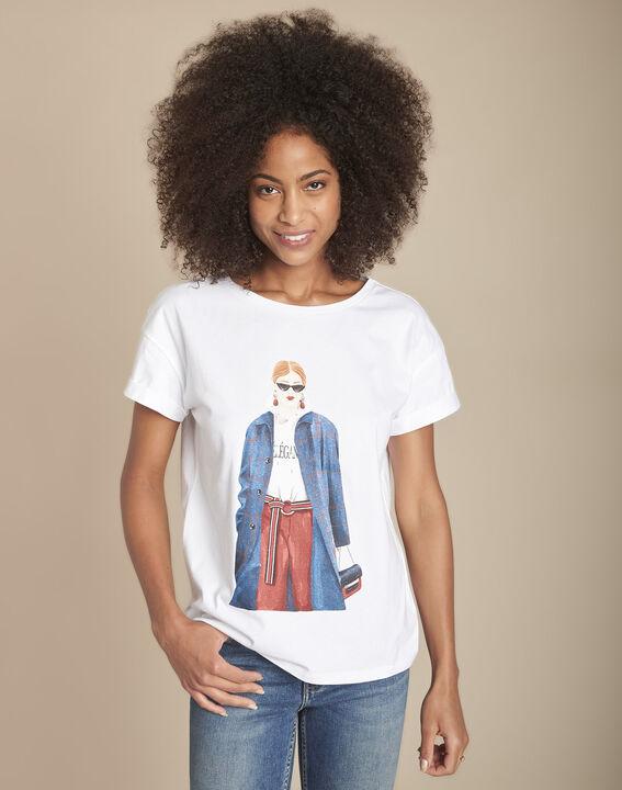 Tee-shirt blanc sérigraphié coton biologique Clarisse PhotoZ | 1-2-3