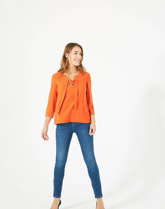 Blouse orange col V Domino PhotoZ   1-2-3