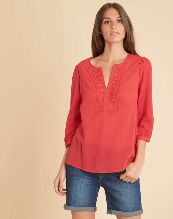 Gabi coral blouse with lace at the neckline (3) - 1-2-3