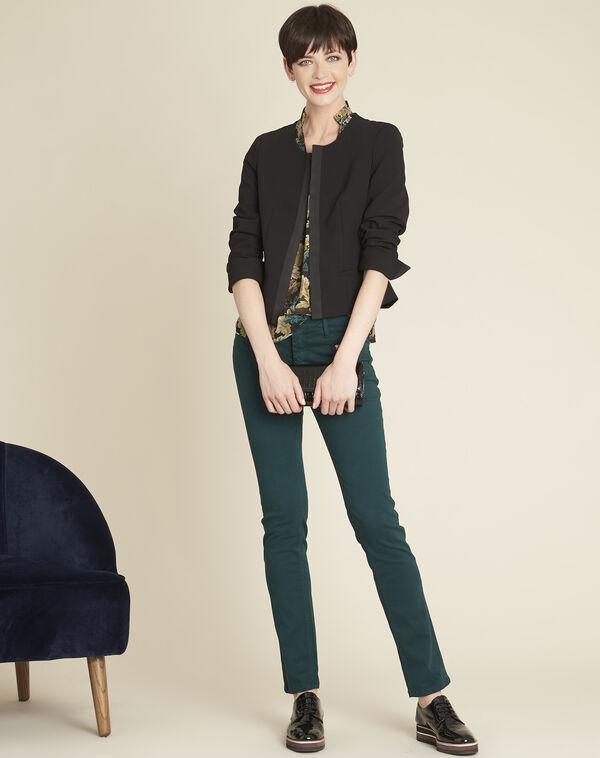 Kaki blouse met blaadjesprint Claudie (1) - 37653