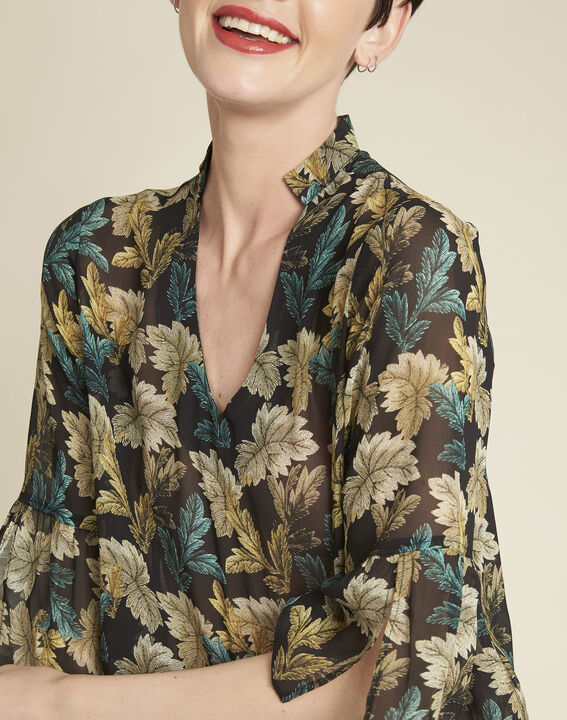 Claudie khaki blouse with leaf print (3) - 1-2-3