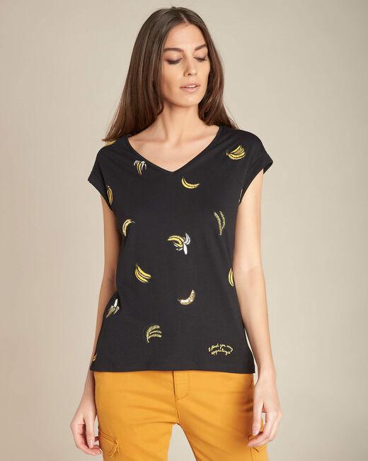 Schwarzes T-Shirt mit Bananen-Print Ejungle (2) - 1-2-3