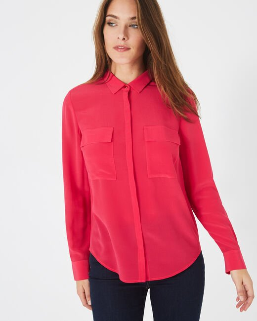 Déesse fuchsia shirt with patch pockets in silk (2) - 1-2-3