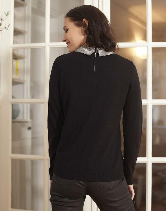 Pull noir encolure chemise bijou Baron (4) - 1-2-3