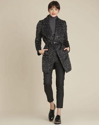 Anthraciet mantel met riem van wol olivier grey.