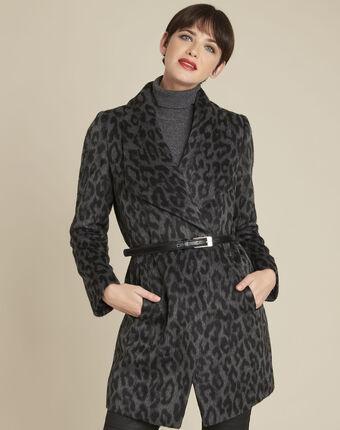 Anthraciet mantel met riem van wol olivier anthracite.