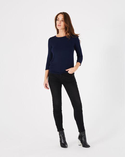 Tee-shirt bleu marine dentelle et guipure Banco (1) - 1-2-3