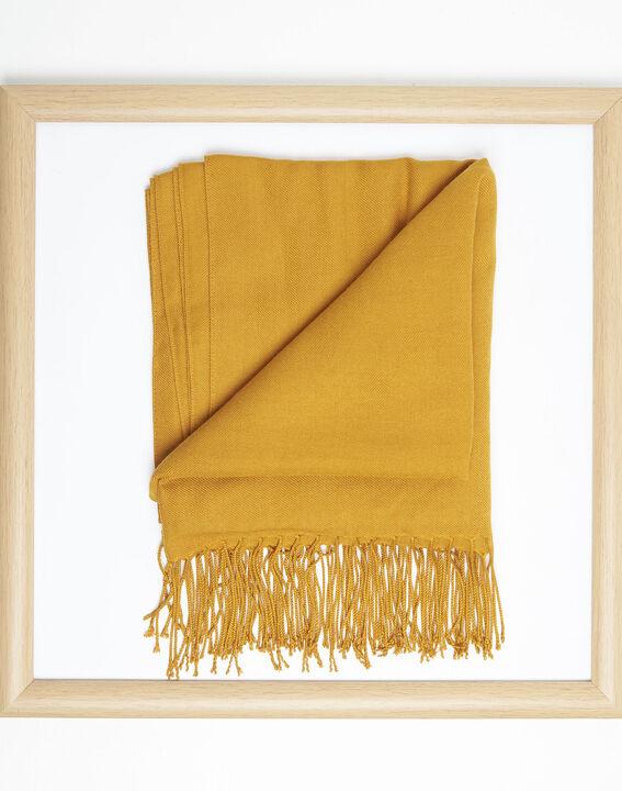 Okergele sjaal met franjes van viscose Fossette (2) - 37653