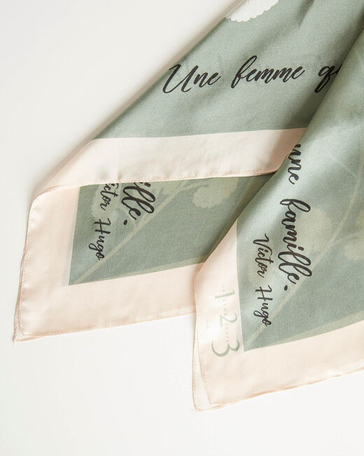 Amberita almond square silk scarf with floral quotation design (2) - 1-2-3