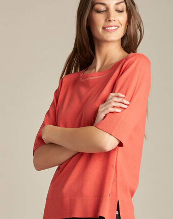 Nevada coral short-sleeved sweater in wool and silk coral.
