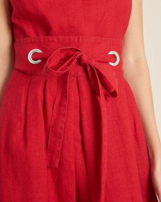 Poppy red linen dress with belt (2) - 1-2-3